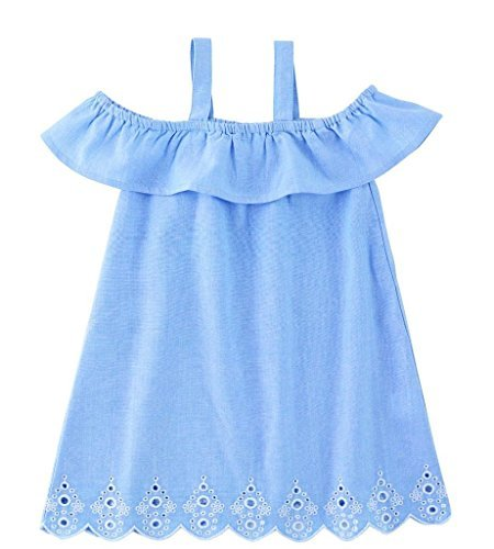Mud Pie Baby Kids Mini Juniper Cotton Chambray Dress Sky Blue 3 Toddler for $<!--$26.59-->
