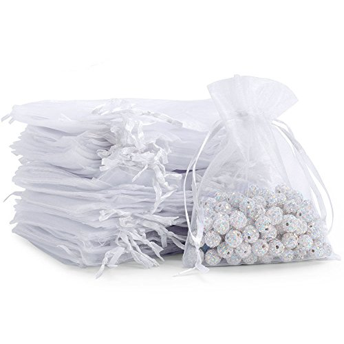 100pcs Sheer Drawstring Organza Gift Bags Jewelry Candy Chocolate mesh Pouches Wedding Party Bridal Baby Shower Birthday Engagement Christmas Holiday Favor 5 x 4 inch White
