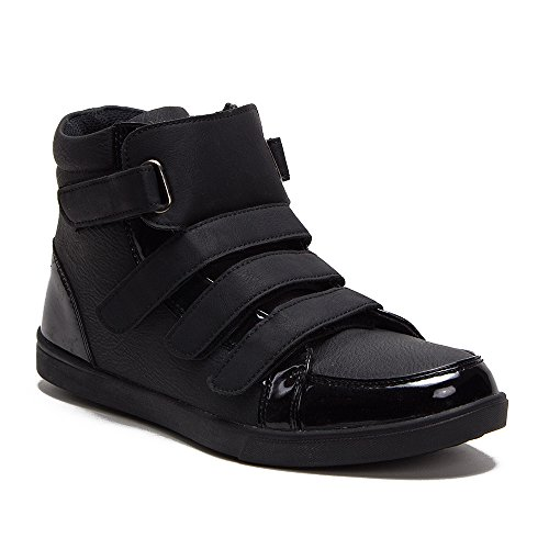 New Men's Kody-013 High-Top Patent Leather Velcro Straps Sneakers Boots, All Black, 8.5 (Leather Velcro Men Sneakers)