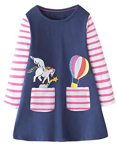 Fiream Girls Cotton Longsleeve Casual Dresses Applique Cartoon Pegasus Unicorn(SY019,5-6Y) -