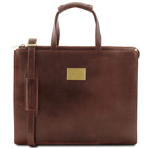 Tuscany Leather Palermo Leather briefcase 3 compartments for women Brown