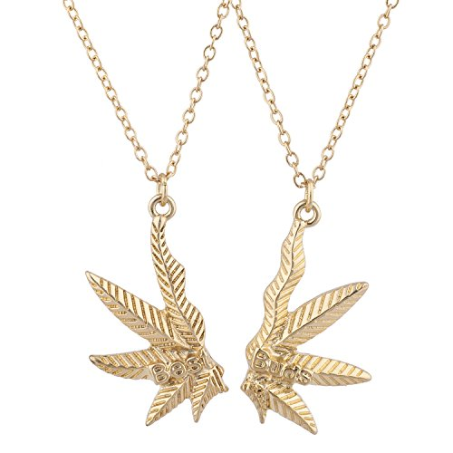 Lux Accessories Gold Tone Best Buds BFF Friends Marijuana Weed Necklace Set 2PC