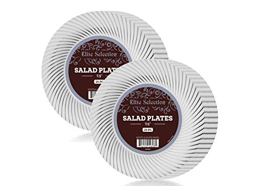 Swirl White Salad Plate - Elite Selection Salad Plates – 50 Disposable Dessert Party Plastic Plates – 7.5 Inches Party Plates with Silver Swirl – White Plastic Plates – Party Accessories