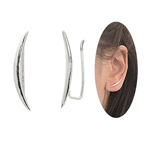 Cuff Silver Ring - Moon Crawler Cuff Earrings - 925 Sterling Silver