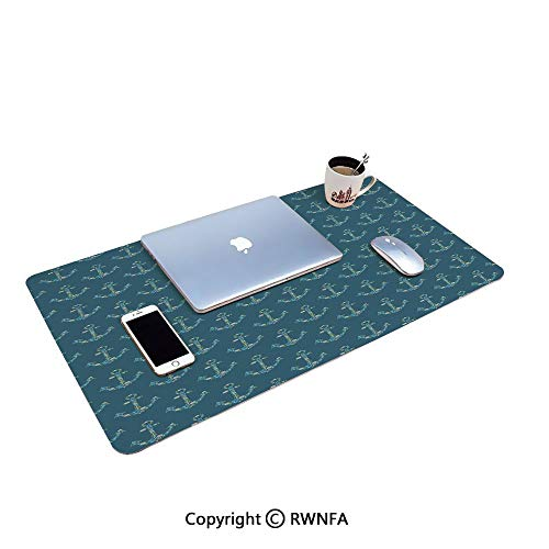 Stylized Anchors with Maritime Figures Fishes Underwater Sea Animals Decorative Waterproof Keyboard pad,(11.8