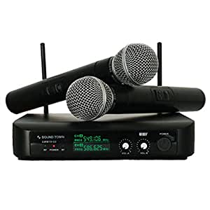 sound town swm10 u2hh professional dual channel uhf wireless microphone system with. Black Bedroom Furniture Sets. Home Design Ideas