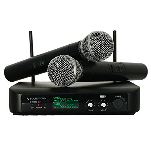 Sound Town SWM10-U2HH Professional Dual-Channel UHF Wireless Microphone System with 2 Handheld Mics, for Church, Business Meeting, Outdoor Wedding and Karaoke