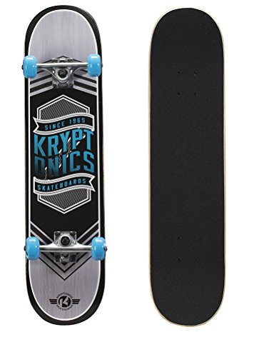 Kryptonics Drop-In Series 31 Inch Complete Skateboard, Flag Blue
