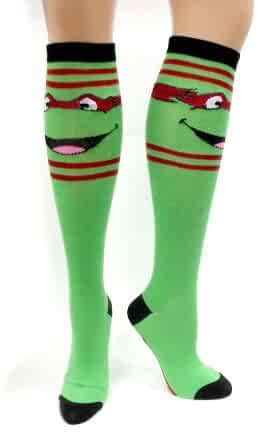 ad0d144a24d Amazon.com  TMNT Teenage Mutant Ninja Turtles Green Knee-High Socks ...