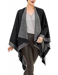 Cardigan Poncho Cape: Women Elegant Gray Camel Cardigan Shawl Wrap Sweater Coat for Winter
