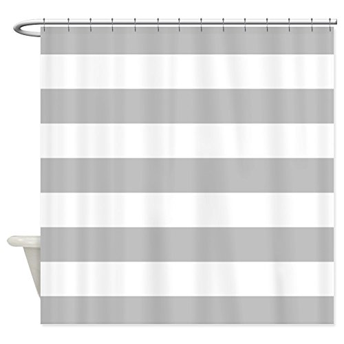 CafePress Grey And White Stripe Shower Curtain Decorative Fabric
