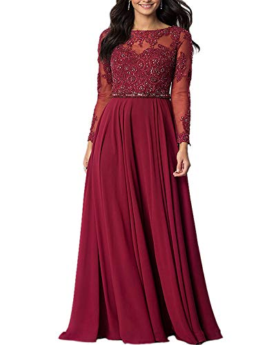 Aofur Womens Long Sleeve Chiffon Party Evening Dress Formal Wedding Prom Cocktail Ladies Lace Maxi Dresses (Small, Wine)