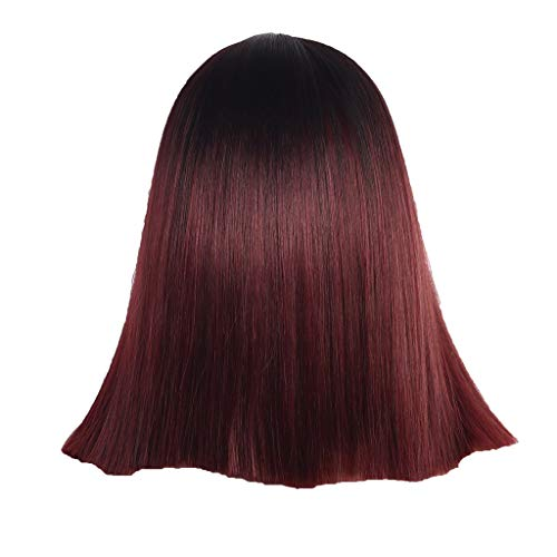 Tigivemen Red Wigs,Bobo Wigs,Front lace Synthetic Hair Short Wigs Straight Wig,Pretty Wig Beautiful for Cosplay Or Daily Use