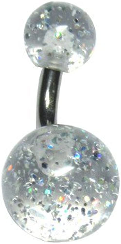 Bodyville 14g Custom Length Clear Glitter Belly Button Ring 1//4 to 1