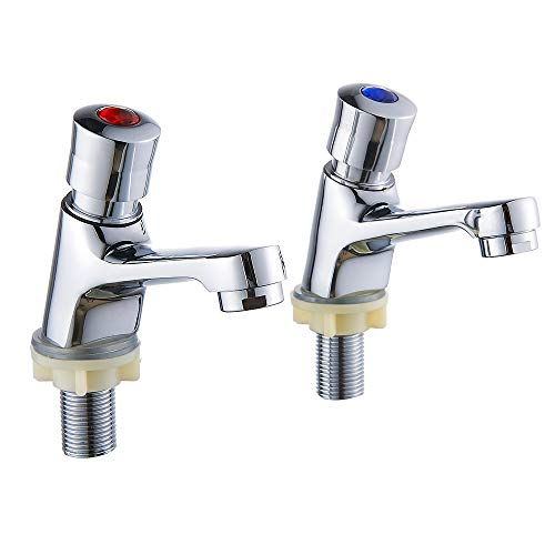 Commercial 2 Handles Bathroom Faucet Water Saving Metering Lavatory Faucet Pillar Tap Chrome Lead-Free