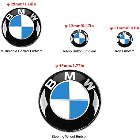 4 PCS for BMW Embl Stickers 45mm Steering Wheel Emblem 29mm Multimedia Control Badge Stickers 12mm Radio Button Emblem Stickers 11mm Remote Key Emblem Stickers for BMW