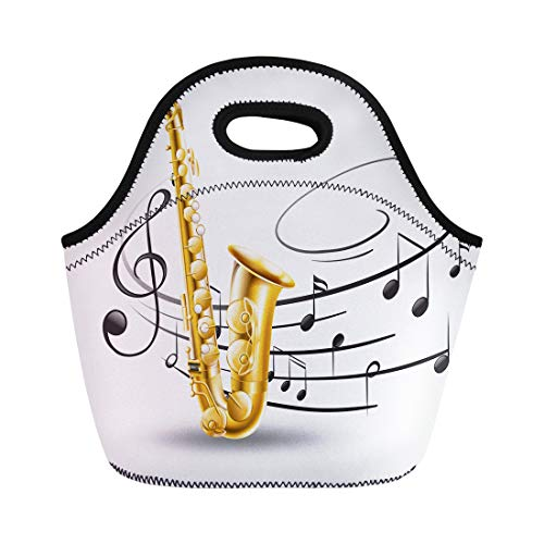 Semtomn Neoprene Lunch Tote Bag Classical Saxophone Music Notes in Clip Clipart Drawing Entertainment Reusable Cooler Bags Insulated Thermal Picnic Handbag for Travel,School,Outdoors,Work