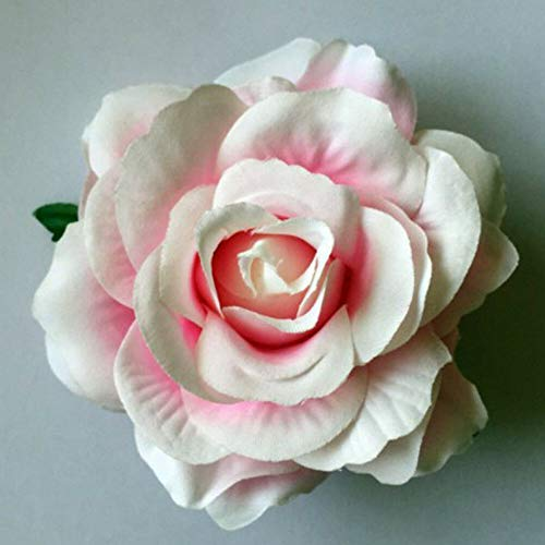Women Sweet Big Rose Blossom Flower Wedding Bridal Hair Clip Hairpin Brooch Gift (Color - white pink)