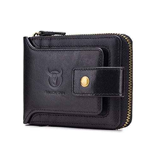 RFID Bifold Men's Cowhide Leather Zip Around Wallet Vintage Travel Multi Card Holder Purses, Black (Cowhide Travel Wallet)