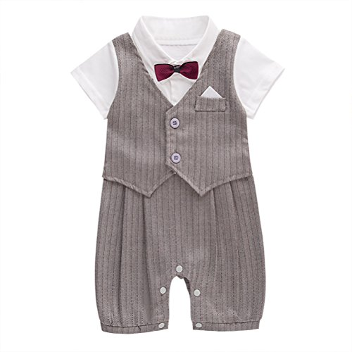 (May's Baby Toddler Boys Bowtie Faux Vest Romper Onesie)