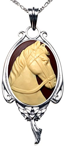 Horse Cameo Necklace - Heart of the Angel Pendant Necklace Fairy Gift Jewelry 2 PC Chains (Horse)