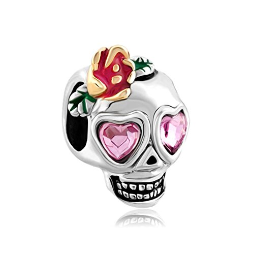 ReisJewelry Calavera Sugar Skull Charms Halloween Beads For Bracelets (Pink)