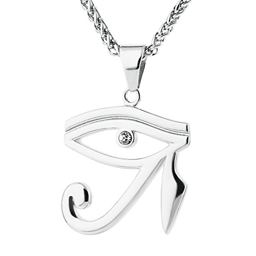 HZMAN CZ Eye of Horus Egypt Protection Pendant on Stainless steel Necklace (Silver) - Egypt Charm Jewelry