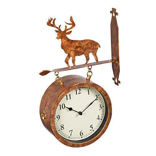 Cape Craftsmen 2-Sided Outdoor Wall Clock and Thermometer with Deer Icon