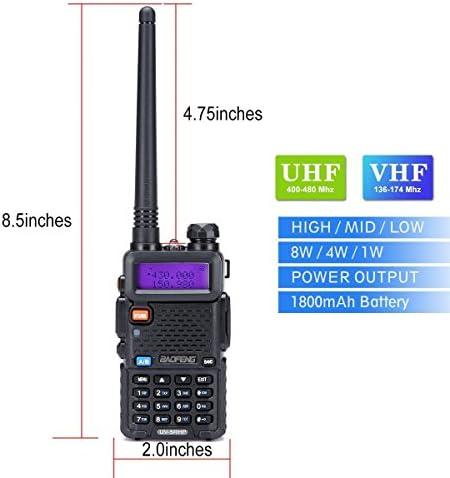 Walkie Talkies 2 Way Radio BaoFeng Radio Series UV-5RH High Power 8 Watt Dual Band Two Way Radio for Hiking Camping Trolling Newer Version of Baofeng UV-5R by LUITON