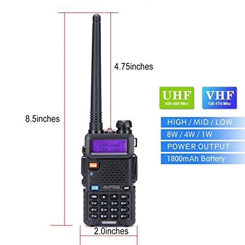 Walkie Talkies 2 Way Radio BaoFeng Radio Series UV-5RH High Power 8 Watt Dual Band Two Way Radio for Hiking Camping Trolling (Newer Version of Baofeng UV-5R) By LUITON by LUITON (Image #1)