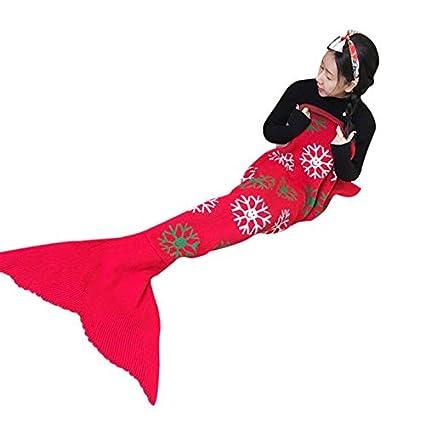 Dizoony Mantas de Sirena Saco de Dormir de Todas Las Temporadas Princesa Vestidos (Rojo)