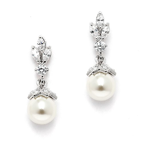 Mariell Light Ivory Pearl Drop Vintage Bridal Earrings with Platinum Plated Cubic Zirconia Marquis (Vintage Earrings Bridal)