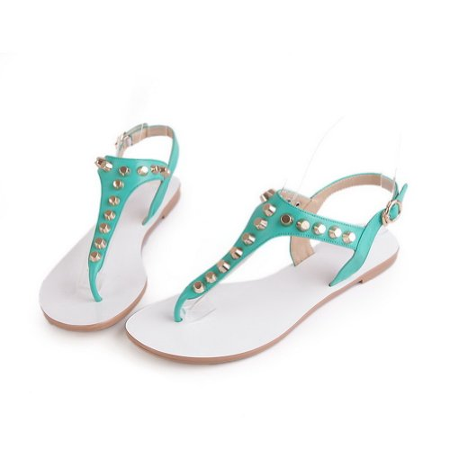 Cow with WeenFashion 5 Leather Green Womens Leather Solid M Sandals 6 Rivet Embossed US Open B Toe qzHprOwtz