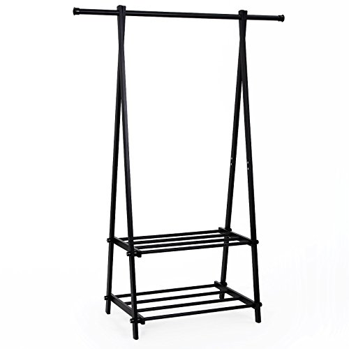 SONGMICS Black Metal Coat Rack 2-tier Garment Drying Rack Entryway Organizer URCR22B