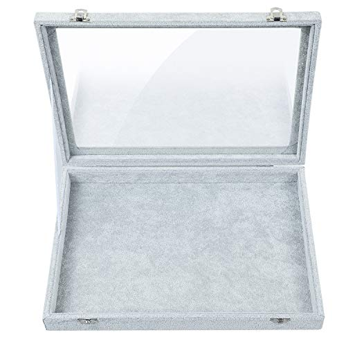 Stylifing Jewelry Tray Showcase Display Storage Holder Organizer Box Gray Velvet & Clear Lid with Lock (Empty Plate)