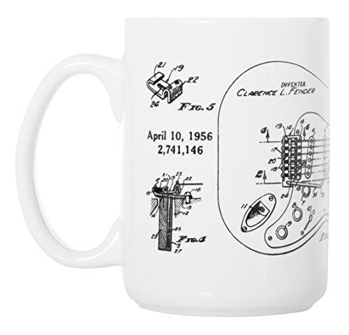 Fender Stratocaster Guitar Patent Blueprint - 15 oz Deluxe Large Mug ()