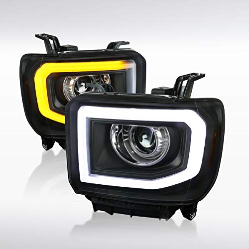 - Autozensation For GMC Sierra 1500 2500HD 3500HD SLT SLE Pickup Black Projector Headlights w/LED Signal Pair