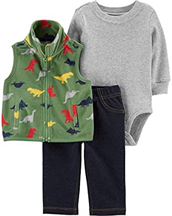 Carter's Baby Boys' 3-Piece Little Vest Set (Newborn, Green/Dinosaur)