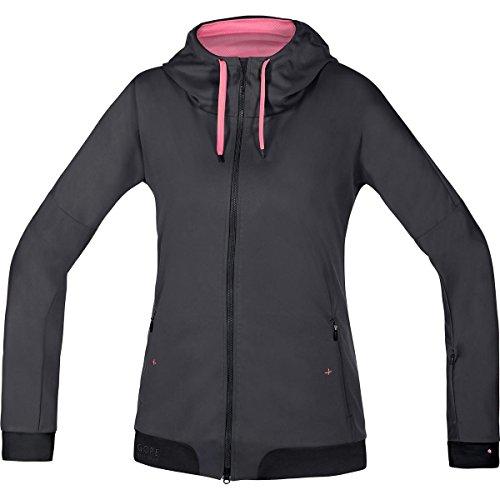 GORE BIKE WEAR Women's Warm Soft Shell Hooded Mountainbike Jacket, GORE WINDSTOPPER, POWER-TRAIL LADY WS SO Hoody, Size 36, Raven Brown/Black, SWHFLO (Windstopper Jacket Hooded Shell)