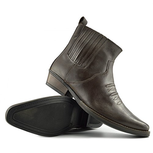 47 Mens EU40 Footwear Boots Cubano Tirare Caviglia Smart Tacco Occidentale Kick Marrone Cowboy PFwf5q5T