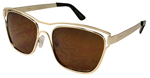 Edge I-Wear Metal Outlined Horned Rim Sunglasses with Solid Lens - Solid Gold Rims