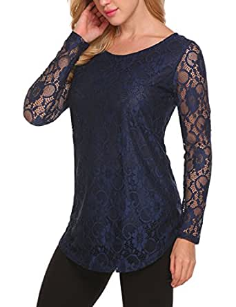 SoTeer Women's Lace Tunics Hollow Out Patchwork Casual Long Sleeve Blouses Tops Navy Blue S