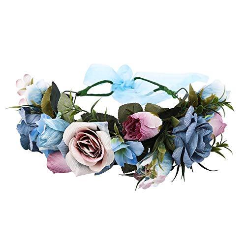 Purple Garland Headpiece Vintage Rose Flower Headband Wreath Hairband Party Girl Hair Accessories Crown with Ribbon,9122b