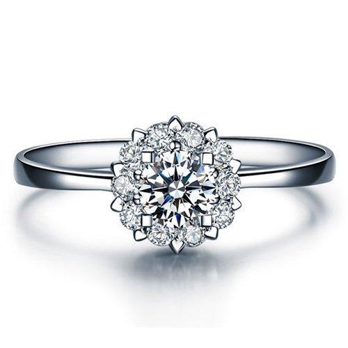 Round Cut Diamond Engagement Ring 14k White Gold Palladium Platinum Halo Handmade Diamond Ring Art Deco Anniversary Ring