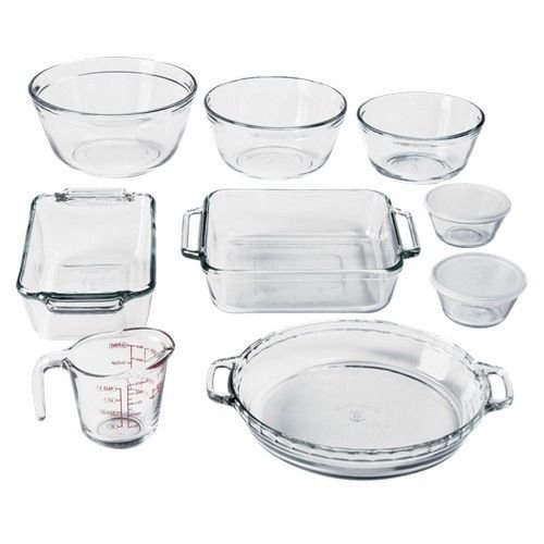NEW Anchor Hocking Oven Basics Bake Set - 11 Piece (Crystal Clear)