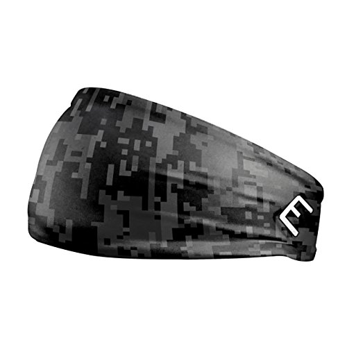 Elite Athletic Gear Unisex Headband/Sweatband. Best for Sports, Fitness, Working Out, Yoga. Tapered Design. (Black DIGI CAMO)