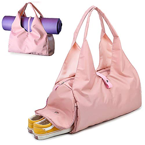 UIYTR Yoga Mat Gym Bag Fitness Bags for Women Men Training Sac De Sport Travel Gymtas Nylon Outdoor Travel Sports Carry On Gym Bag (Pink)