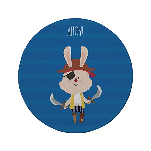 (Non-Slip Rubber Round Mouse Pad,Ahoy Its a Boy,Pretty Pirate Rabbit Bunny with Eye Patch and Swords Funny Graphic Cartoon,Multicolor,7.87
