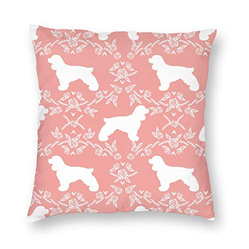 Decorative Square Throw Pillow Covers Cocker Spaniel Dog Breed Silhouette Florals Sweet Pink_894 Cushion Case for Sofa Bedroom Car 18 x 18 Inch 45 x 45 cm