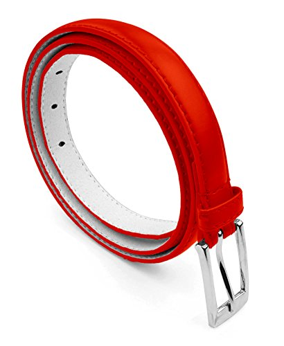 Red Skinny Belt (Belle Donne - Women's Leather Skinny Hip or Waist Dress Belt -Red-S)
